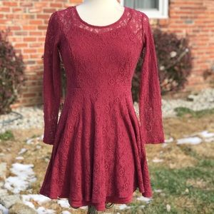 Altar'd State Red Long Sleeve Lace Dress